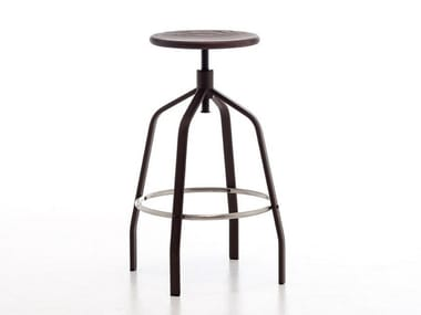Swivel height-adjustable steel and wood stool VITO