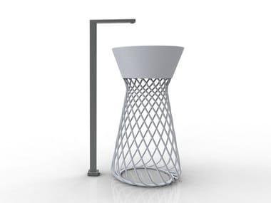Lavabo in ceramica e acciaio WIRE | Lavabo freestanding