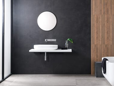 Porcelain stoneware wall/floor tiles with concrete effect XLIGHT STARK BLACK