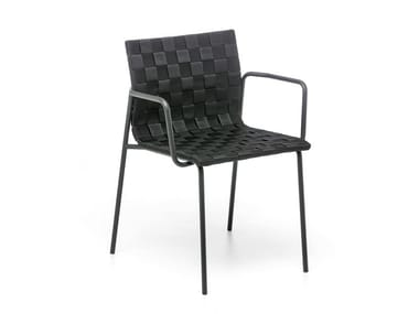 Stackable easy chair with armrests ZEBRA AR | Garden chair