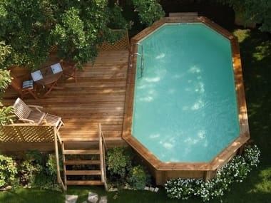 Above-Ground pine Swimming Pool Kit AMBRA