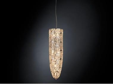 lampada a sospensione in acciaio con cristalli arabesque cilindro ... - Larabesque Lampade