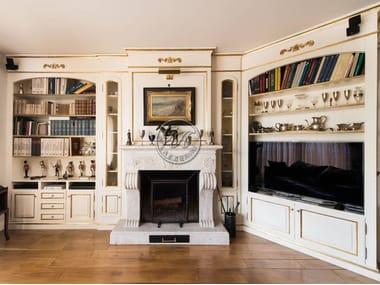 mueble modular de pared composable de madera de estilo tradicional con chimeneas con soporte para tv