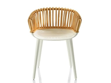 Woven wicker chair with armrests CYBORG CLUB