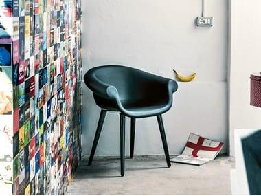 Petit fauteuil rembourré en cuir CYBORG LORD | Petit fauteuil en cuir