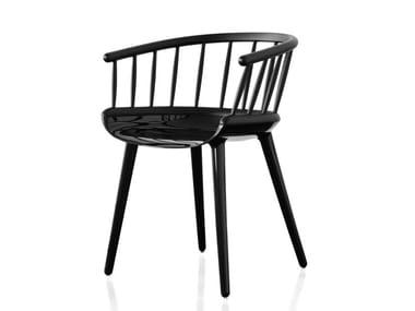 Multi-layer wood chair with armrests CYBORG STICK