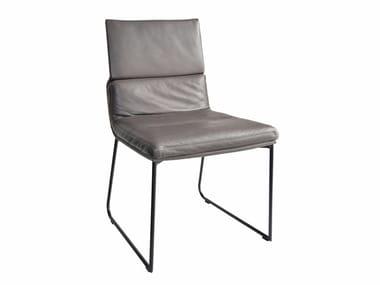 Gepolsterter Stuhl aus Leder mit Kufengestell D.S. | Stuhl mit Kufengestell
