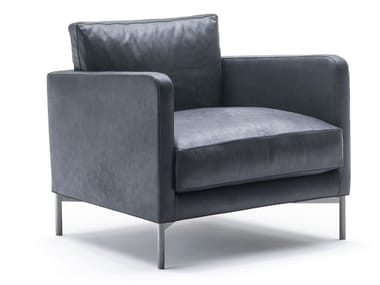 Leather armchair with removable cover DUMAS | Armchair