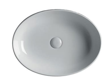 Countertop oval ceramic washbasin EASY 55