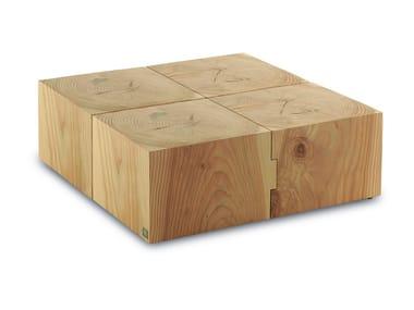 Tavolino rettangolare in legno massello eco block for Beistelltisch quadrato