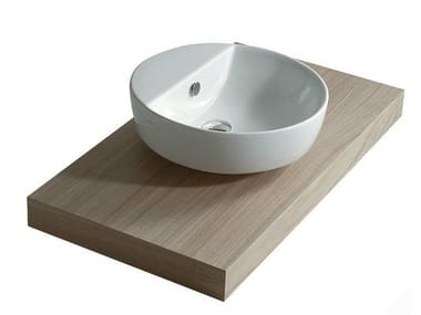 Countertop round ceramic washbasin with integrated countertop EDEN | Round washbasin