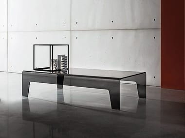 Rectangular glass low square coffee table