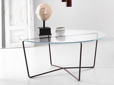 Low glass and steel coffee table GEMMA | Glass and steel coffee table