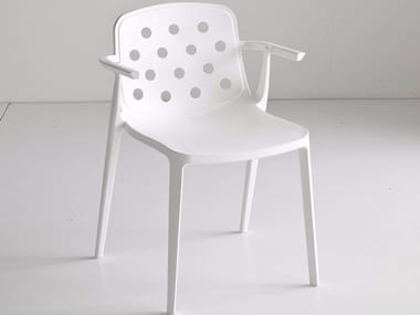 Stackable technopolymer chair with armrests ISIDORA | Chair with armrests