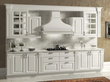 Lacquered wooden fitted kitchen with handles MICHELANGELO | Kitchen with handles