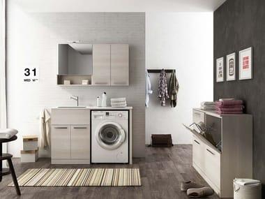 Mobile lavanderia componibile con ante a battente con lavatoio LAVANDERIA 8