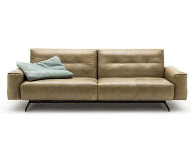 Sled base tufted leather sofa ROLF BENZ 50 | Leather sofa