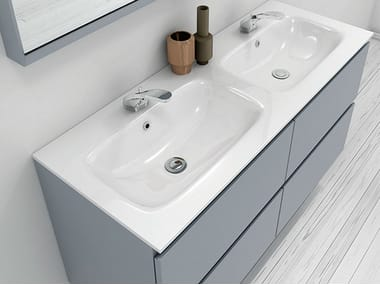 Double Mineralmarmo® washbasin countertop M1 | Mineralmarmo® washbasin countertop