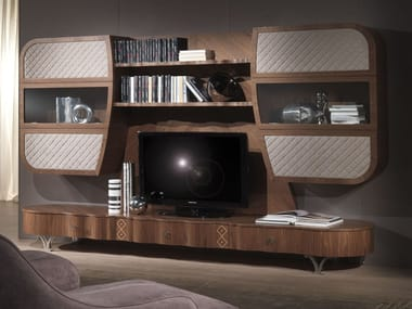 Solid wood TV wall system MISTRAL B