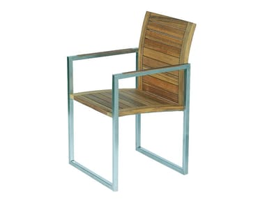 Sedia a slitta da giardino in teak con braccioli NINIX | Sedia in teak