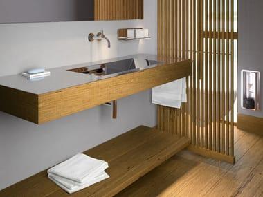 lavabo rectangular de acero inoxidable y madera con encimera novanta