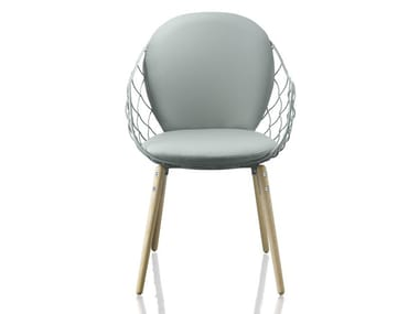 Steel and wood chair with armrests PIÑA   Chair