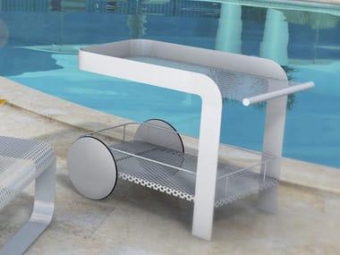 Table roulante de jardin en tôle POOL SYSTEM | Table roulante de jardin