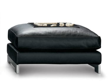 Upholstered leather pouf REVERSI | Pouf