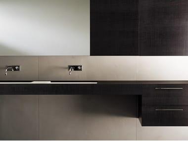 Double wall-mounted sawn oak coffee vanity unit with drawers BLOCK2 | Wall-mounted vanity unit