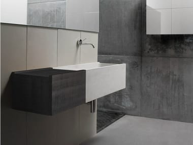 Wall-mounted concrete washbasin with drawers ELLEDUE | Washbasin with drawers