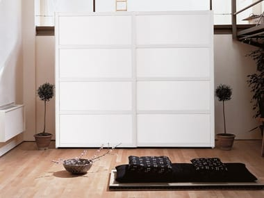 Lacquered wooden wardrobe with sliding doors YOSHIDA