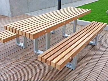 Mesa para espacios públicos en acero y madera TORD | Mesa para espacios públicos