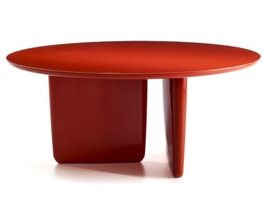 Lacquered round table TOBI-ISHI | Lacquered table