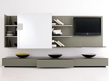 Mueble modular de pared composable con soporte para tv PAB | Mueble modular de pared