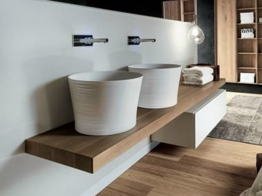 Double solid wood washbasin countertop VIA VENETO | Double washbasin countertop