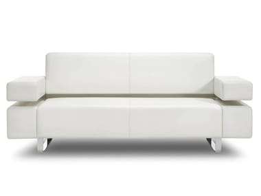 Sled base 2 seater leather sofa POSEIDONE | 2 seater sofa