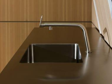 1-Loch Küchen-Einhebelmischer aus Stahl mit Durchflussbegrenzer Küchen-Einhebelmischer