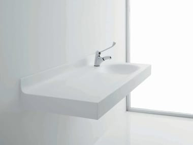 Baby changing unit in acrylic stone BAGNOCUCCIOLO®-MILK | Washbasin