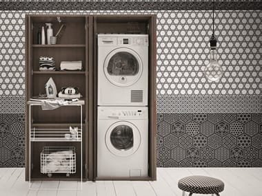 Tall elm laundry room cabinet for washing machine ACQUA E SAPONE | Tall laundry room cabinet