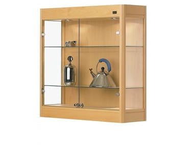 Wall-mounted beech display cabinet OPERA | Wall-mounted display cabinet