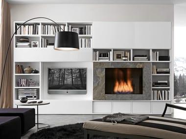 mueble modular de pared composable lacado con soporte para tv comp