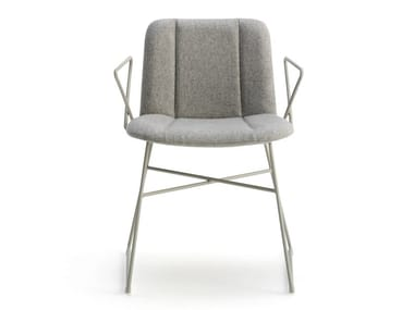 Sled base fabric chair with armrests HIPPY | Sled base chair