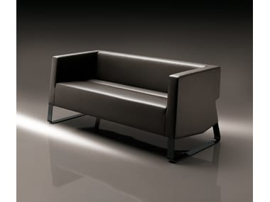 Sled base leather sofa INKA STEEL D 200 ST D