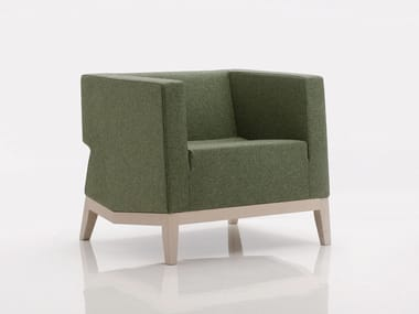 Upholstered fabric armchair with armrests INKA WOOD D 200