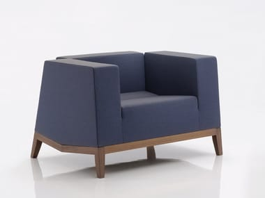 Upholstered fabric armchair with armrests INKA WOOD F 200