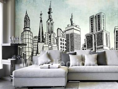 Contemporary style motif nonwoven wallpaper SKYLINE