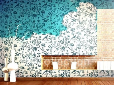 Wallpaper with floral pattern PARADISE BIRD