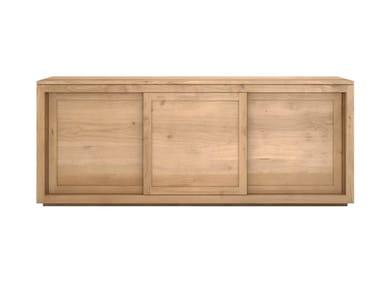 Solid wood sideboard with sliding doors OAK PURE | Solid wood sideboard