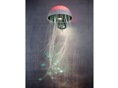 Lámpara de pared en fibras ópticas RGB MEDUSA | Lámpara de pared
