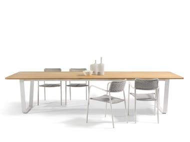 Mesa rectangular de madera para jardín AIR | Mesa para jardín